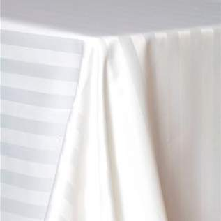 "Poly Satin Stripe White 108"" Round"