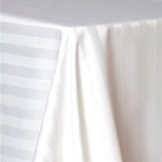"Linen Poly Satin Stripe White 90"" X 156"""