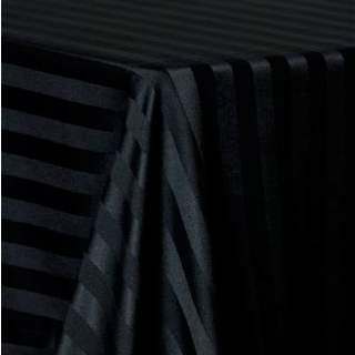 """Linen Poly Satin Stripe Black 90"""" X 156"""""""