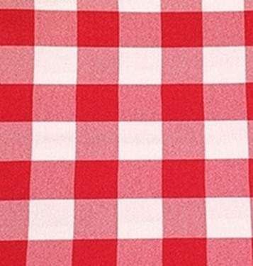 Poly Check Red & White Linen