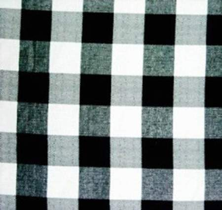 Poly Check Linen Black & White Round Tablecloth