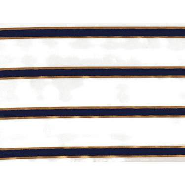 "Chenille Stripe Navy Blue 90"" Square"
