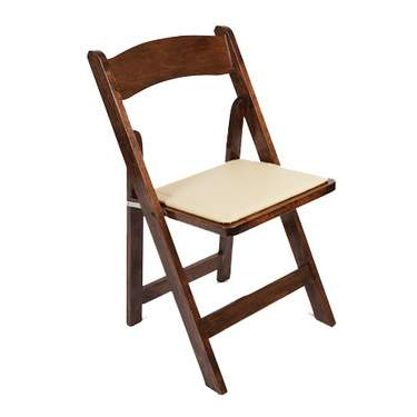 Wood Fold Chair Walnut w/ Tan Seat