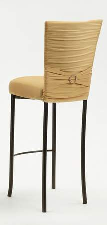 Chloe Gold Knit Barstool with Jewel Band on Brown Legs