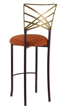 Two Tone Gold Fanfare Barstool with Copper Stretch Knit Cushion