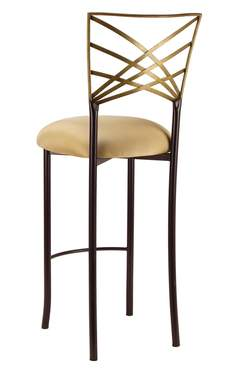 Two Tone Gold Fanfare Barstool with Gold Stretch Knit Cushion