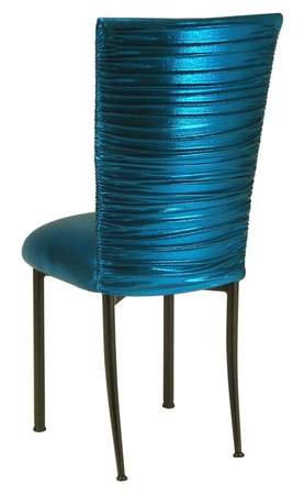 Superbe Chloe Metallic Teal Knit Chair Cover And Cushion On Brown Legs