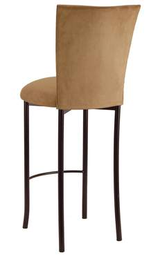 Camel Suede Barstool Cover and Cushion on Brown Legs