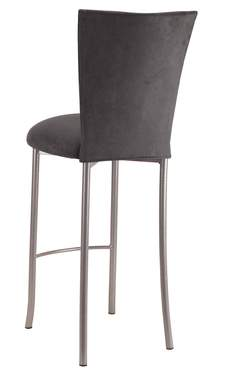 Charcoal Suede Barstool Cover and Cushion on Silver Legs