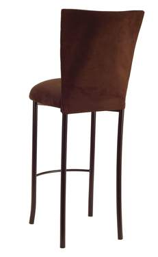 Chocolate Suede Barstool Cover and Cushion on Brown Legs