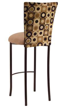 Concentric Circle Barstool with Camel Suede Cushion on Brown Legs