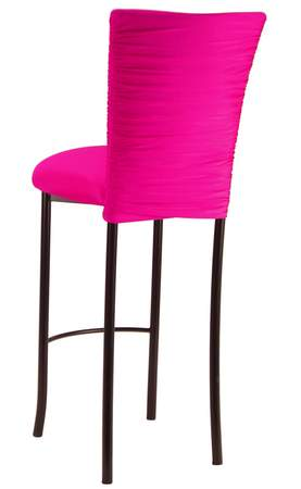 Chloe Hot Pink Stretch Knit Barstool Cover on Brown Legs