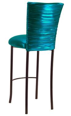 Chloe Metallic Teal Stretch Knit Barstool Cover on Brown Legs