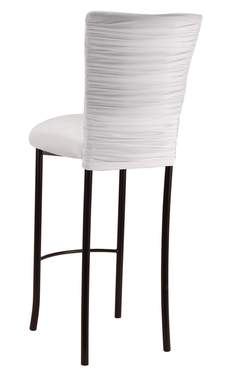 Chloe White Stretch Knit Barstool Cover and Cushion on Brown Legs