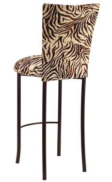 Zebra Stretch Knit Barstool Cover and Cushion on Brown Legs