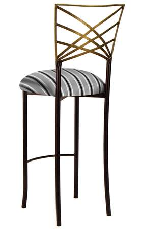 Two Tone Gold Fanfare Barstool with Charcoal Stripe Cushion