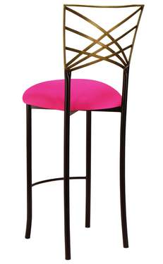Two Tone Gold Fanfare Barstool with Hot Pink Stretch Knit Cushion