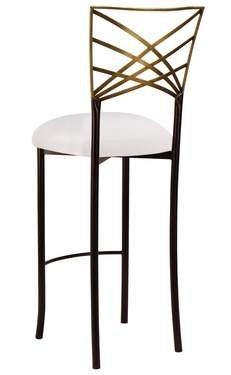Two Tone Gold Fanfare Barstool with White Stretch Knit Cushion
