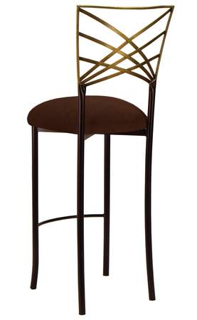 Two Tone Gold Fanfare Barstool with Chocolate Suede Cushion