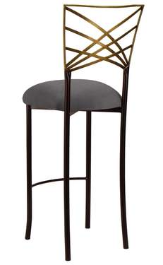 Two Tone Gold Fanfare Barstool with Charcoal Suede Cushion