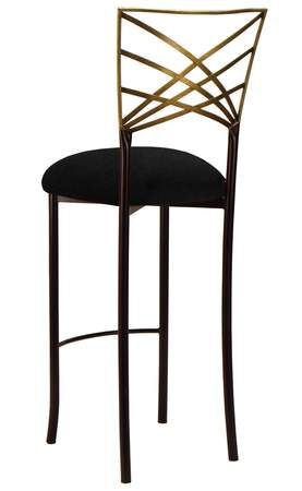 Two Tone Gold Fanfare Barstool with Black Suede Cushion