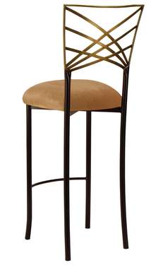 Two Tone Gold Fanfare Barstool with Gold Velvet Cushion