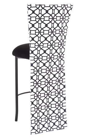 Black and White Kaleidoscope Barstool with Black Suede Cushion