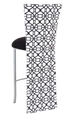 Black and White Kaleidoscope Barstool with Black Suede Cushion