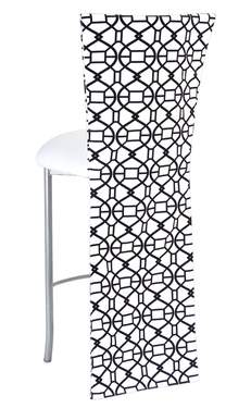 Black and White Kaleidoscope Barstool with White Suede Cushion