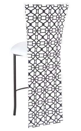 Black and White Kaleidoscope Barstool with White Suede Cushion