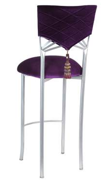 Eggplant Velvet Hat and Tassel Barstool with Cushion on Silver Legs