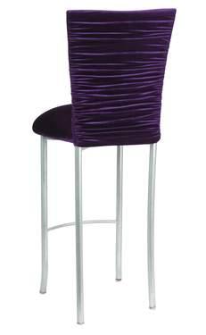 Chloe Eggplant Velvet Barstool Cover and Cushion on Silver Legs