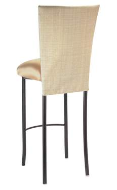 Parchment Linette Barstool with Toffee Knit Cushion on Brown Legs