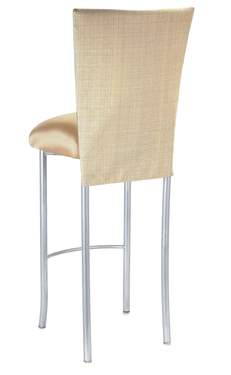 Parchment Linette Barstool with Toffee Knit Cushion on Silver Legs