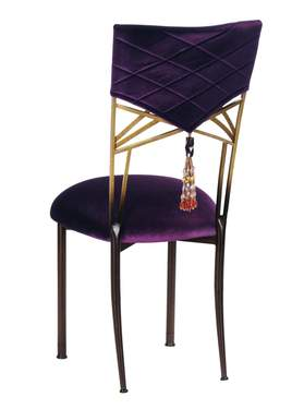 Two Tone Fanfare Chair with Eggplant Velvet Hat and Tassel