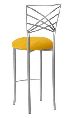 Silver Fanfare Barstool with Canary Suede Cushion