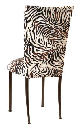 Ordinaire Zebra Stretch Knit Chair Cover And Cushion On Brown Legs