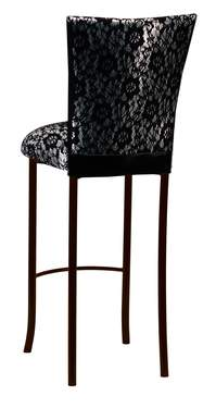 Black Lace over Silver Knit Barstool Cover on Brown Legs