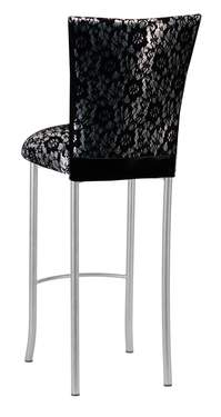 Black Lace over Silver Knit Barstool Cover on Silver Legs