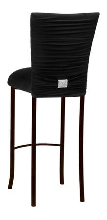 Chloe Black Knit Barstool with Rhinestone Accent Band on Brown Legs