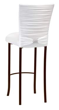 Chloe White Knit Barstool with Rhinestone Accent Band on Brown Legs