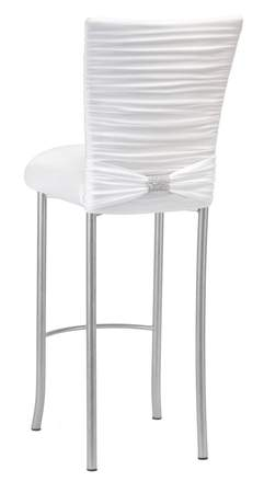 Chloe White Knit Barstool with Rhinestone Accent Band on Silver Legs