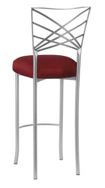 Silver Fanfare Barstool with Burnt Red Dupioni Boxed Cushion