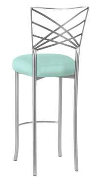 Silver Fanfare Barstool with Tropical Teal Taffeta Boxed Cushion