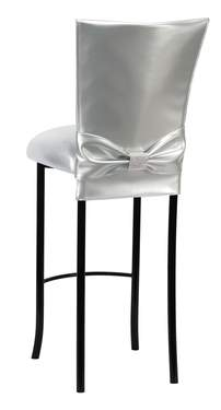 Silver Patent Barstool with Rhinestone Accent Belt on Black Legs