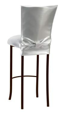 Silver Patent Barstool with Rhinestone Accent Belt on Brown Legs