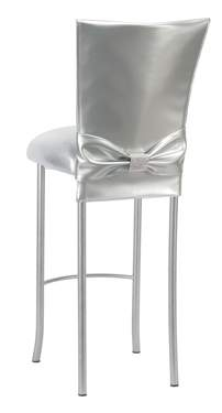Silver Patent Barstool with Rhinestone Accent Belt on Silver Legs