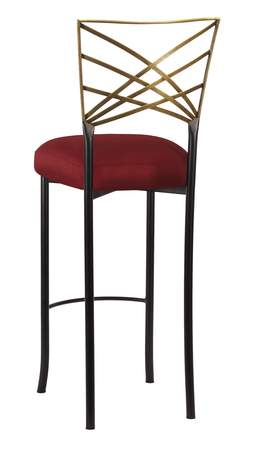 Two Tone Fanfare Gold Barstool with Burnt Red Dupioni Cushion