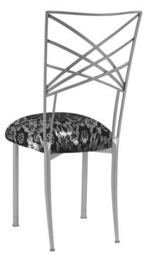 Silver Fanfare Chair with Black Lace over Silver Knit Cushion