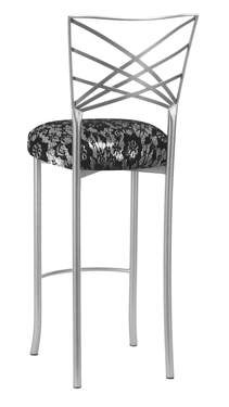 Silver Fanfare Barstool with Black Lace over Silver Knit Cushion